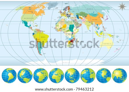 World Map with all Countries,  Capitals and set of Earth Globes, editable detailed vector, version 2011 - stock vector