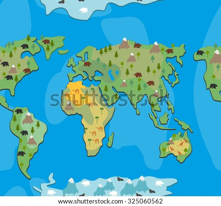World map with  animals and trees seamless pattern. Background of  geographical Atlas of   flora and fauna. Endless ornament for baby cloth of  continents of  planet Earth. - stock vector