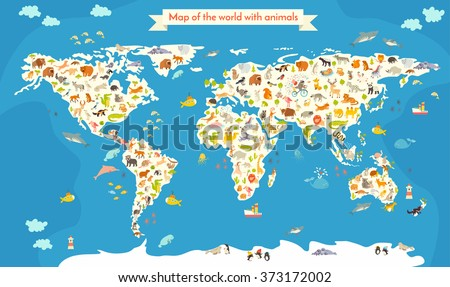 World map animals world map beautiful stock photo photo vector world map with animals world map beautiful colorful vector illustration world map with animals gumiabroncs Gallery