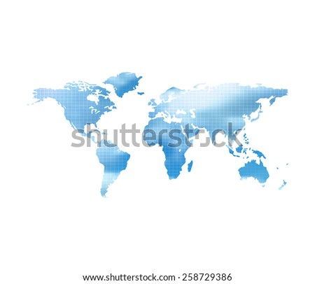 World Map With Blue Cloud Sky On A White Background - stock vector
