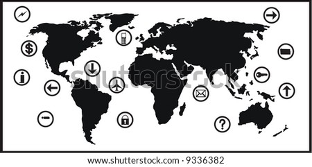 world map with business icons.traced map: http://www.lib.utexas.edu/maps/world_maps/world_pol02.jpg copyright state.: http://www.lib.utexas.edu/maps/faq.html#3.html - stock vector