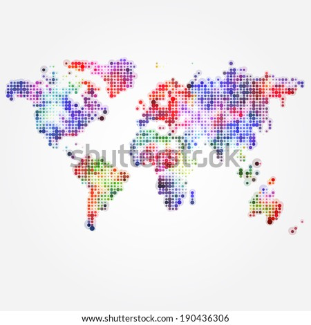 World Map with colored dots of different sizes - stock vector
