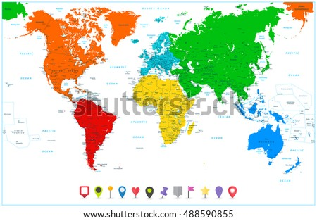 World Map Colorful Continents Flat Map Stock Vector - Flat map of the world with countries