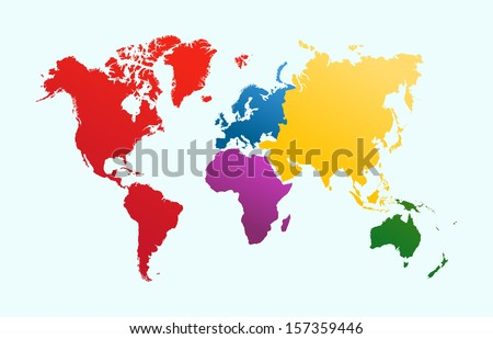 World map with colorful continents Atlas. EPS10 vector file organized in layers for easy editing.  - stock vector