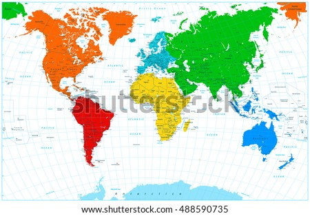World map colorful continents highly detailed stock vector 488590735 world map colorful continents highly detailed stock vector 488590735 shutterstock gumiabroncs Image collections