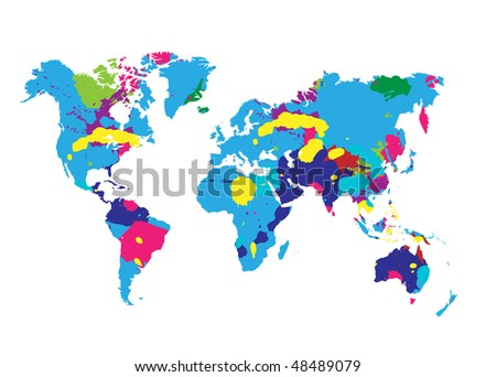 world map with colorful splatters