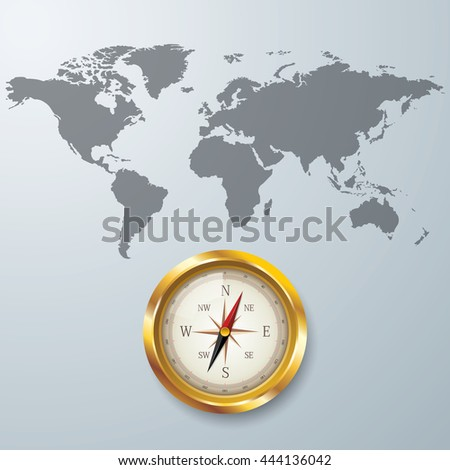 World map with Compass info graphic. used for workflow layout, diagram, banner, number options, graphic or web design.