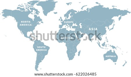World map continent labels stock vector hd royalty free 622026485 world map with continent labels gumiabroncs Image collections
