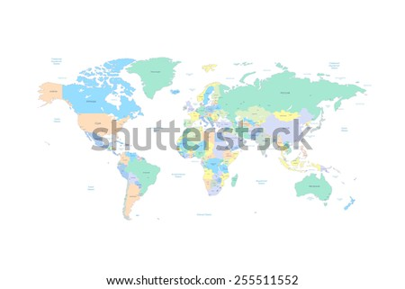 World map with countries and cities listed in Russian. With the seas and oceans. Vector illustration. High Detail World map. All elements are separated in editable layers clearly labeled. Vector - stock vector
