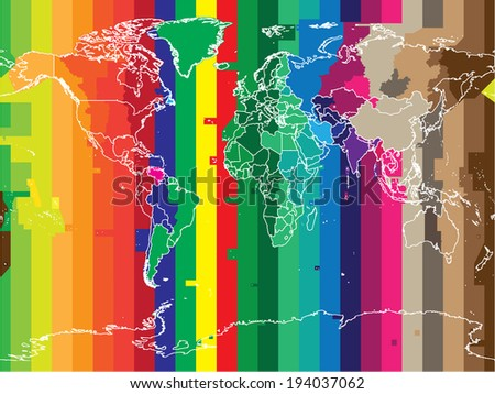 World map with countries and colored timezones  in editable vector format - stock vector