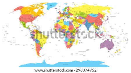 World map with countries, country and city names - stock vector