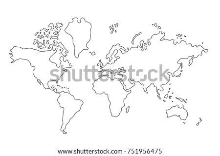 World map country borders thin black stock vector 751956475 world map with country borders thin black outline on white background best popular world gumiabroncs Images