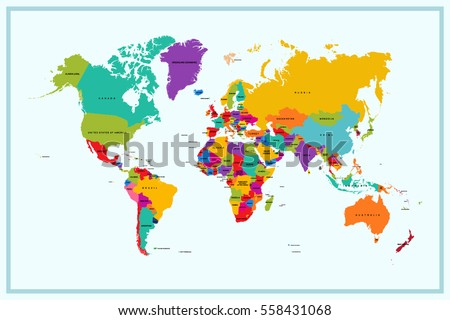 World Map Country Name Stock Vector 558431068 Shutterstock