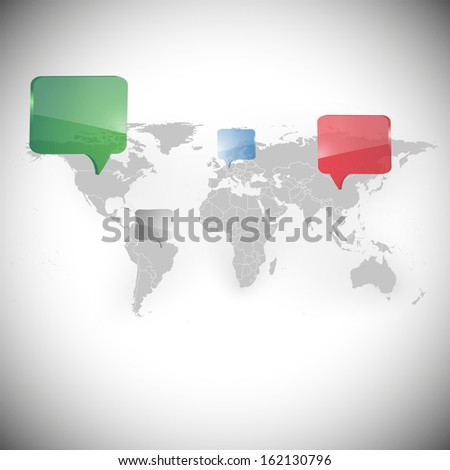 World map with dialog boxes background vector - stock vector