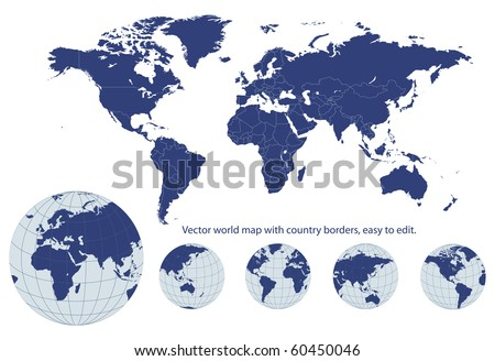Maps stock images royalty free images vectors shutterstock world map with earth globes editable vector gumiabroncs Image collections