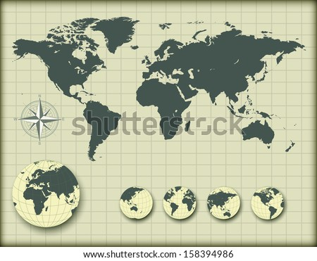 World map with earth globes, editable vector illustration. - stock vector