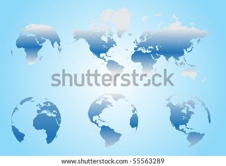 World map with Earth globes in white background