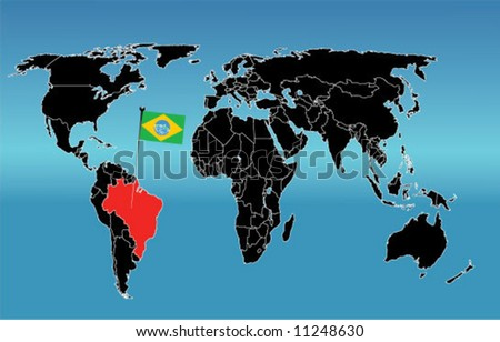 World map flag brazil stock vector 11248630 shutterstock world map with flag of brazil gumiabroncs Choice Image
