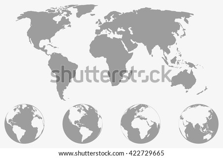 World map four globe icons different stock vector hd royalty free world map with four globe icons from different sides stylized geometric flat vector gumiabroncs Gallery