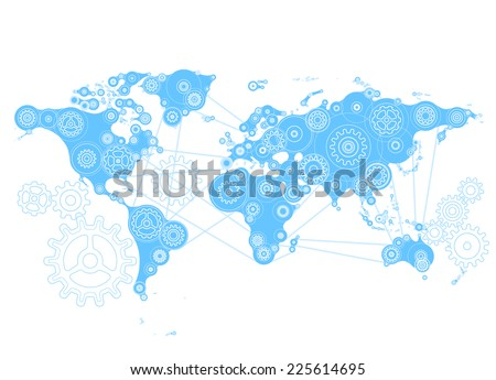 World map gears eps 8 rgb organized stock vector 225614695 world map with gears eps8 rgb organized by layers global color gumiabroncs Choice Image