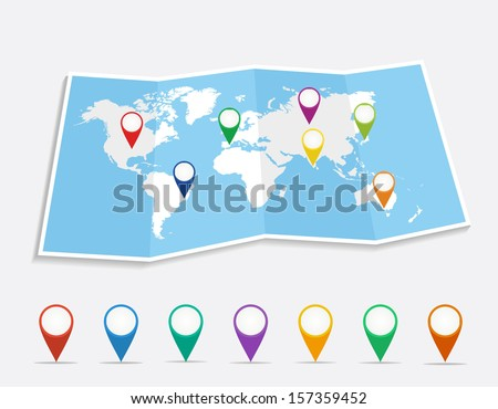 World map with geo location pins travel elements composition. EPS10 vector file organized in layers for easy editing.  - stock vector