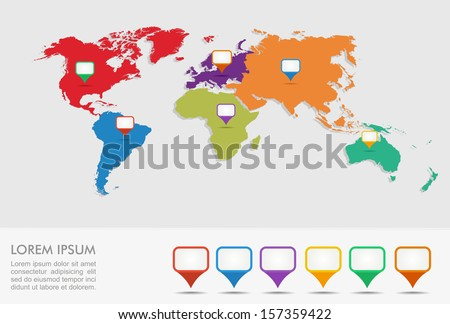 World map with geo position pointers infographics template. EPS10 vector file organized in layers for easy editing. - stock vector