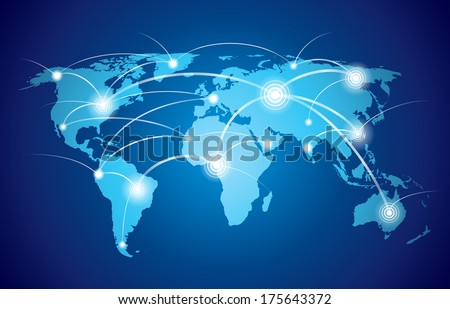 World map with global technology or social connection network with nodes and links vector illustration - stock vector