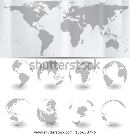 World map with globes  - stock vector