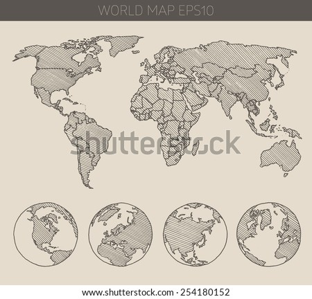 World map with hemispheres contour vector illustration, hand drawn, sketch - stock vector