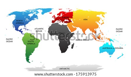 World map highlighted continents different colors stock vector world map with highlighted continents in different colors all labels are in the separate layer gumiabroncs