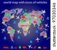world map with icons of transport for traveling. Vector. Rasterized version also available in portfolio. - stock photo