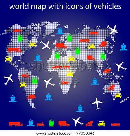 world map with icons of transport for traveling. Vector. Rasterized version also available in portfolio. - stock vector