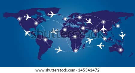 World map with infographic airplane route concept - stock vector