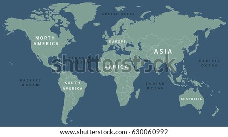 World Map Labels Stock Vector Shutterstock - World map with labels