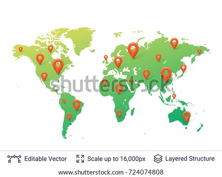 World map location pins markers on stock photo photo vector world map with location pins markers on random places of earth map vector template gumiabroncs Images