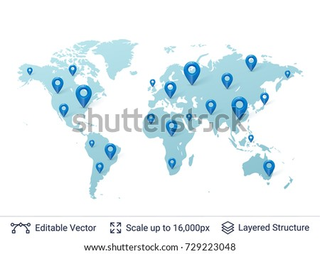 World map location pins markers on vector de stock729223048 world map with location pins markers on random places of earth map vector template gumiabroncs Image collections