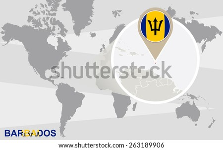 World map with magnified Barbados. Barbados flag and map. - stock vector