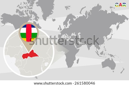 World map with magnified CAR. CAR flag and map. - stock vector