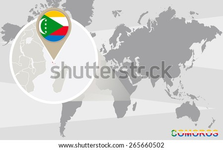 World map with magnified Comoros. Comoros flag and map. - stock vector