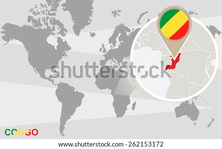 World map with magnified Congo. Congo flag and map. - stock vector