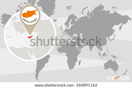World map with magnified Cyprus. Cyprus flag and map. - stock vector