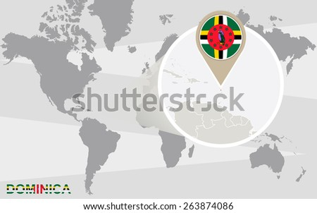 World map with magnified Dominica. Dominica flag and map. - stock vector