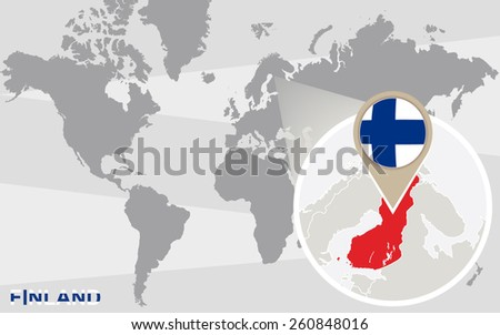 World map with magnified Finland. Finland flag and map. - stock vector