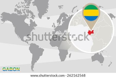 World Map Magnified Gabon Gabon Flag Stock Vector - Where is gabon on the world map