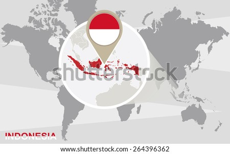 World map with magnified Indonesia. Indonesia flag and map.  - stock vector