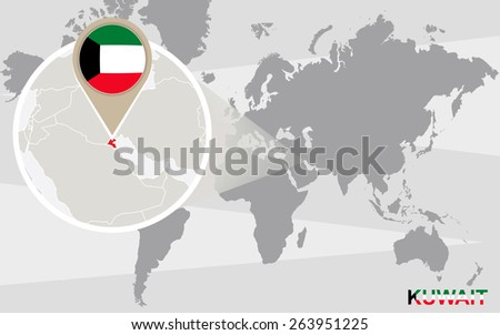 World Map Magnified Kuwait Kuwait Flag Stock Vector 263951225