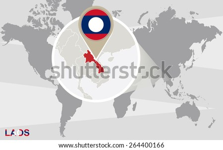 World map with magnified Laos. Laos flag and map.  - stock vector