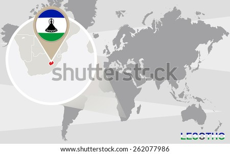 World map with magnified Lesotho. Lesotho flag and map. - stock vector