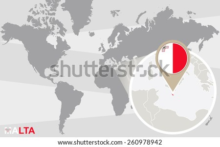 World map with magnified Malta. Malta flag and map. - stock vector