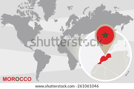 World map with magnified Morocco. Morocco flag and map. - stock vector